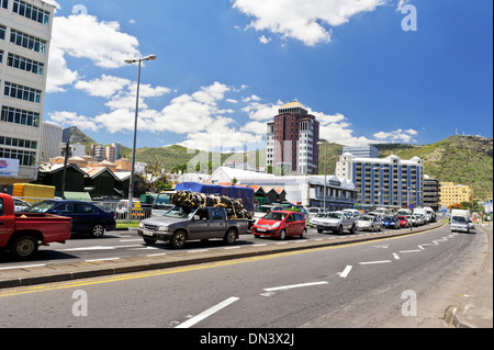 The Motorway (M2) running trough Caudan Waterfront in Port Louis, Mauritius. - Stock Photo