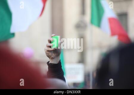 Rome, Italy 18 December 2013  The 'pitchfork movement' protesters in Piazza del Popolo square, Rome, Ital Credit: - Stock Photo