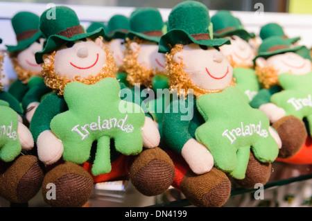 Irish leprachaun soft toy souvenirs on sale in a shop in Ireland - Stock Photo