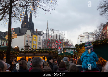 Christmas Market Germany Cologne overview Altstadt with Dom Cathedral in the background - Stock Photo