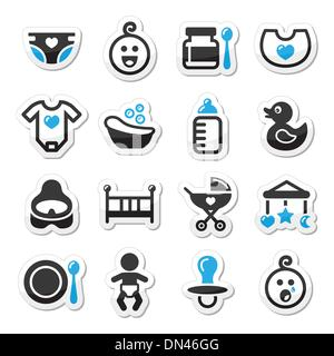 Baby , childhood vector icons set isolated on white - Stock Photo