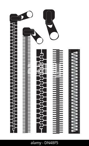 Black zippers - Stock Photo