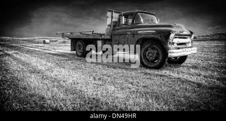 A well used old farm truck sitting in a hay field in Fishtail Montana. - Stock Photo