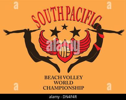 south pacific ocean beach volley vector art - Stock Photo
