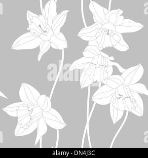 Narcissus seamless pattern. - Stock Photo