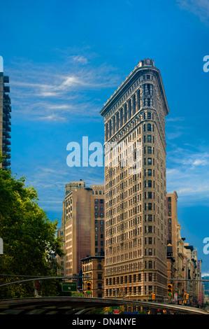 Corner of Broadway, Fifth Ave & 23rd Street New York City Flatiron Building 175 Fifth Avenue Manhattan resembles - Stock Photo
