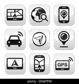 GPS, navigation travel vector buttons set - Stock Photo