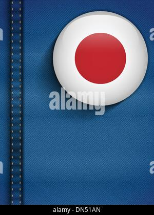 Japan Flag Button in Jeans Pocket - Stock Photo