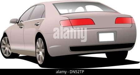 Pink  car on the road. Vector illustration - Stock Photo