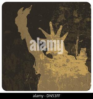 Liberty statue grunge illustration. Vector - Stock Photo