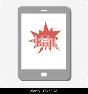 Tablet device with many urgent mail. Vector - Stock Photo