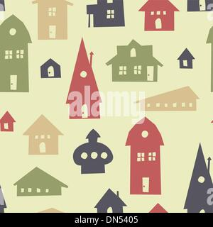 Different shapes houses seamless pattern. Vector - Stock Photo