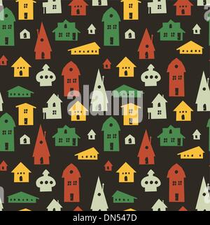 Different houses seamless pattern. Vector - Stock Photo