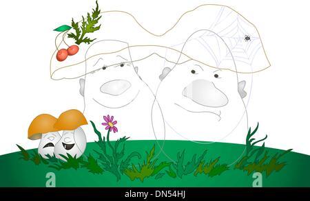 Cartoon, mushrooms - Stock Photo