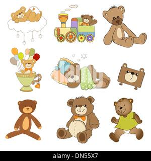 funny teddy bears set isolated on white background - Stock Photo