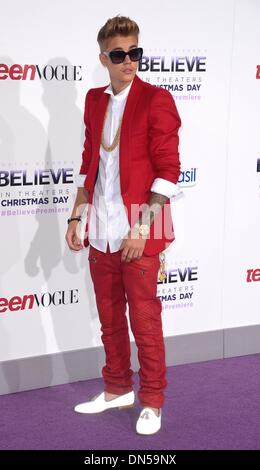 Los Angeles, California, USA. 18th December 2013. Justin Bieber arrives at the premiere for 'Believe' in Los Angeles, - Stock Photo