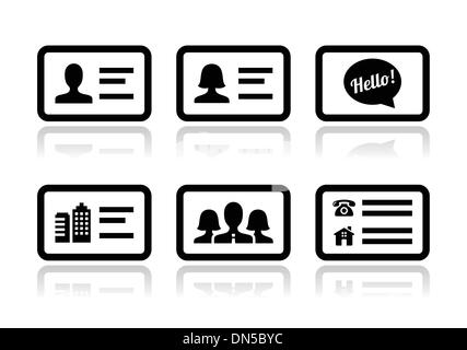 Businessman with identity name card icon stock vector art business card vector icons set stock photo reheart Images