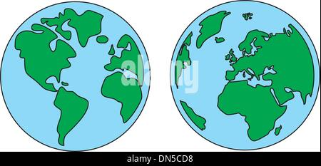 Vector world globe icon isolated on white background. Green and blue Planet Earth symbol hand drawn illustration - Stock Photo