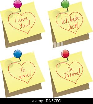 vector yellow paper notes with push pin and I love you words - Stock Photo