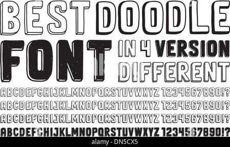 Hand drawn doodle font set - Stock Photo