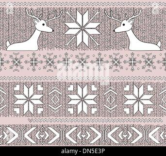 Hand drawn seamless knitted background in fair Isle style - Stock Photo
