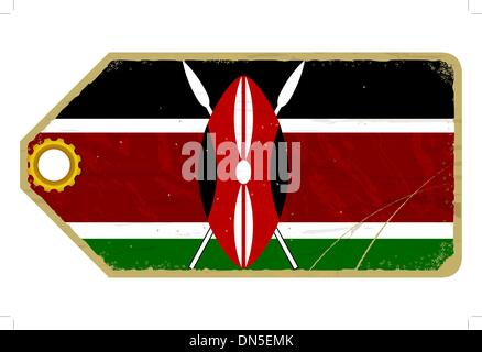 Vintage label with the flag of Kenya - Stock Photo