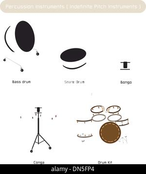 Set of Drum Instruments with Sticks on White Background - Stock Photo