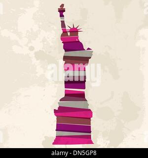 Vintage multicolor Statue of Liberty - Stock Photo