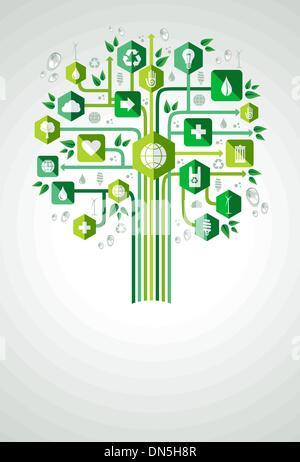 Green eco friendly planet tree - Stock Photo