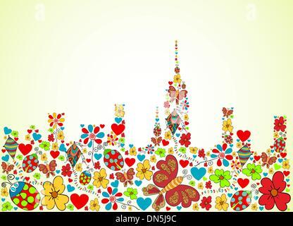 Spring time city skyline background - Stock Photo