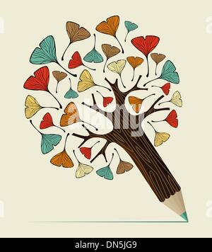 Ginkgo leaf concept pencil tree - Stock Photo