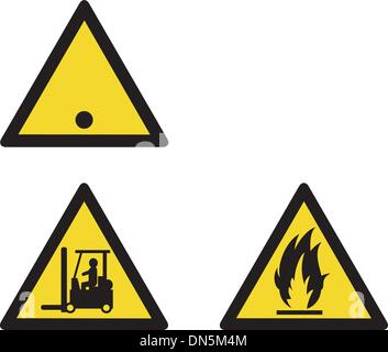 workplace sign security camera forklift flammable - Stock Photo
