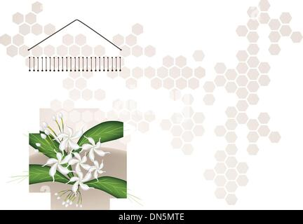 A Musical Bar Chimes and Jasmine on Brown Background - Stock Photo