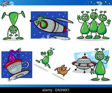 Aliens or Martians Cartoon Characters Set - Stock Photo