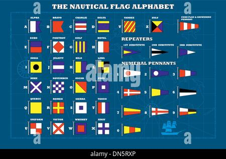 International maritime signal flags - sea alphabet , vector - Stock Photo