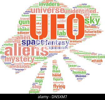 ufo sign tag cloud vector illustration - Stock Photo