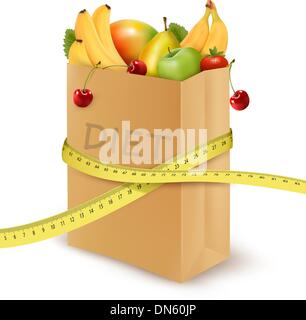 Fresh vegetables in a paper grocery bag with measuring tape. Con - Stock Photo