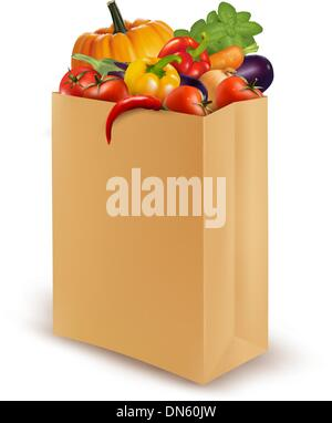 Background with fresh vegetables in paper bag. Healthy Food. Vec - Stock Photo