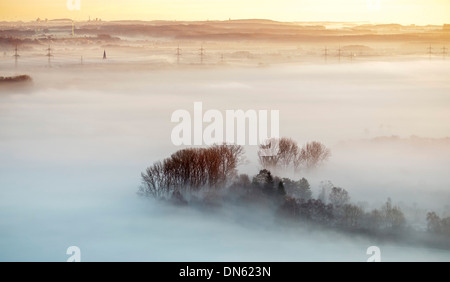 Aerial view, morning mist above the Lippe river, Hamm, Ruhr area, North Rhine-Westphalia, Germany - Stock Photo