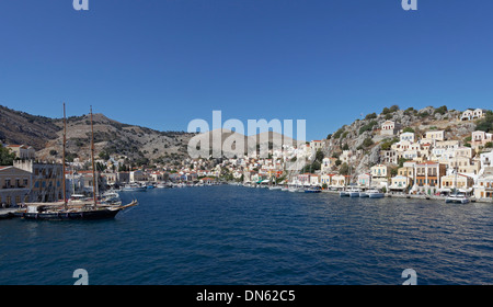 Harbour of the town of Symi, Symi island, Dodecanese, Greece - Stock Photo