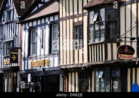 Half-timbered houses in the town centre, Stratford-upon-Avon, Warwickshire, England, United Kingdom - Stock Photo
