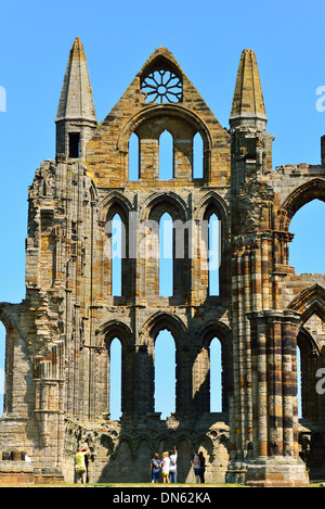 The ruins of Whitby Abbey that inspired Bram Stoker to his masterpiece 'Dracula', Whitby, North Yorkshire, England - Stock Photo