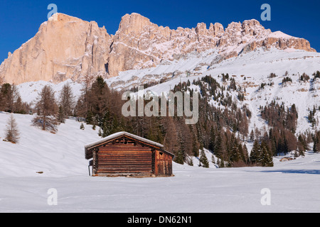 Mt Schlern, cabin at front, Seiser Alm alpine meadow, South Tyrol, Alto Adige, Italy - Stock Photo