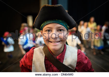 Boy wearing costume in play - Stock Photo