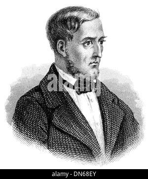 Portrait of Ferdinand Wolf, 1796 - 1866, a romanist from Austria, - Stock Photo