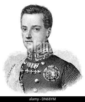 Portrait of Charles Albert or Carlo Alberto Amedeo, 1798 - 1849, King of Piedmont-Sardinia - Stock Photo