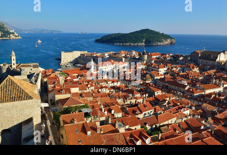 High view from the fortified walls looking south east across the city of  Dubrovnik - Stock Photo