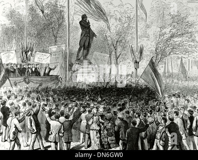 Marquis of La Fayette (1757-1834). French military and politician. Inauguration of his statue in Union Square, 1876. - Stock Photo