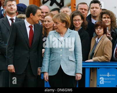 Former Spain´s prime minister Zapatero meets German chancellor Angela Merkel during a meeting in Palma de Majorca, - Stock Photo