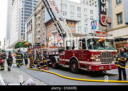 Firefighters in action, San Francisco, California, USA - Stock Photo